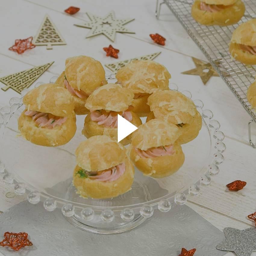 Gougères surprises au saumon