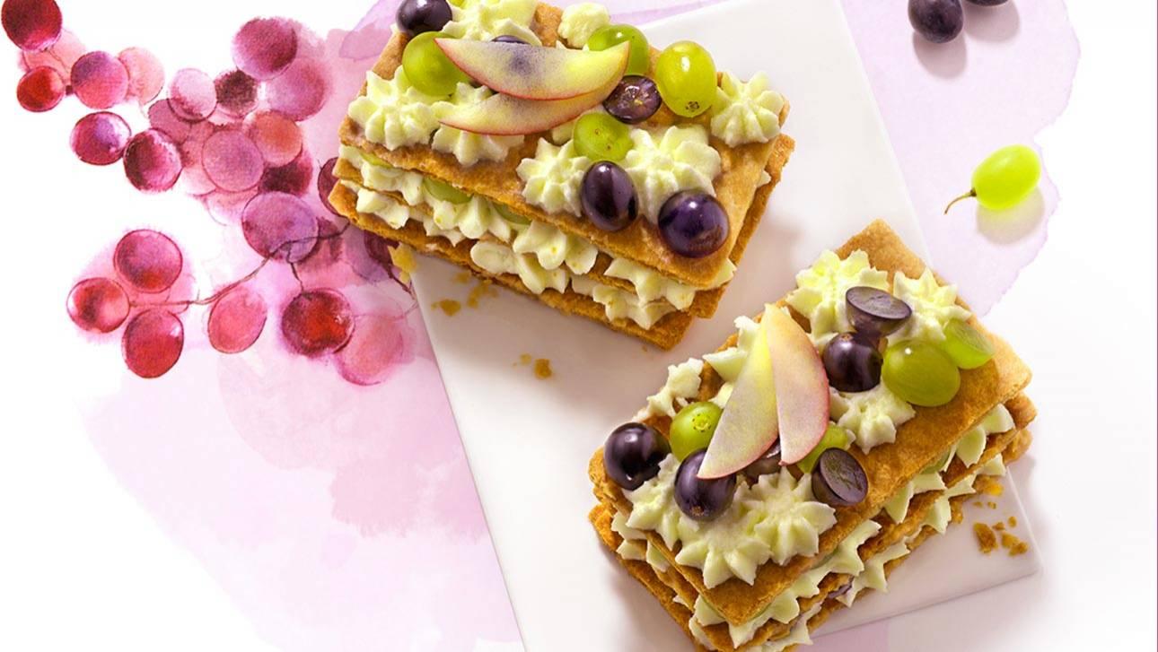 Millefeuille crème vanille et raisin