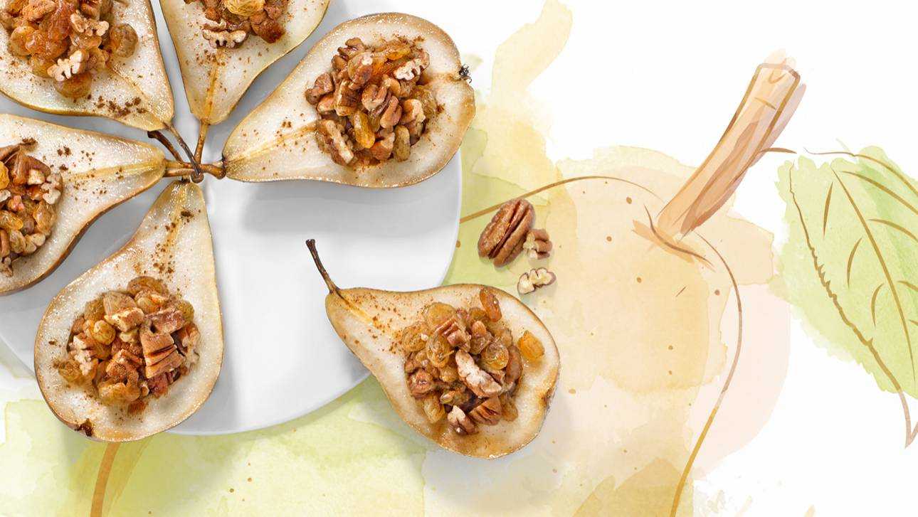 Poires rôties, miel et noix
