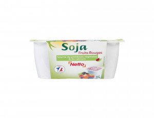 4 YAOURTS DE SOJA AUX FRUITS ROUGES RICHE EN PROTEINES VEGETALES ET CALCIUM