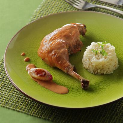 Poulet au vinaigre et riz pilaf